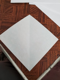 1. Fold your square paper in half diagonal. Open it flat.